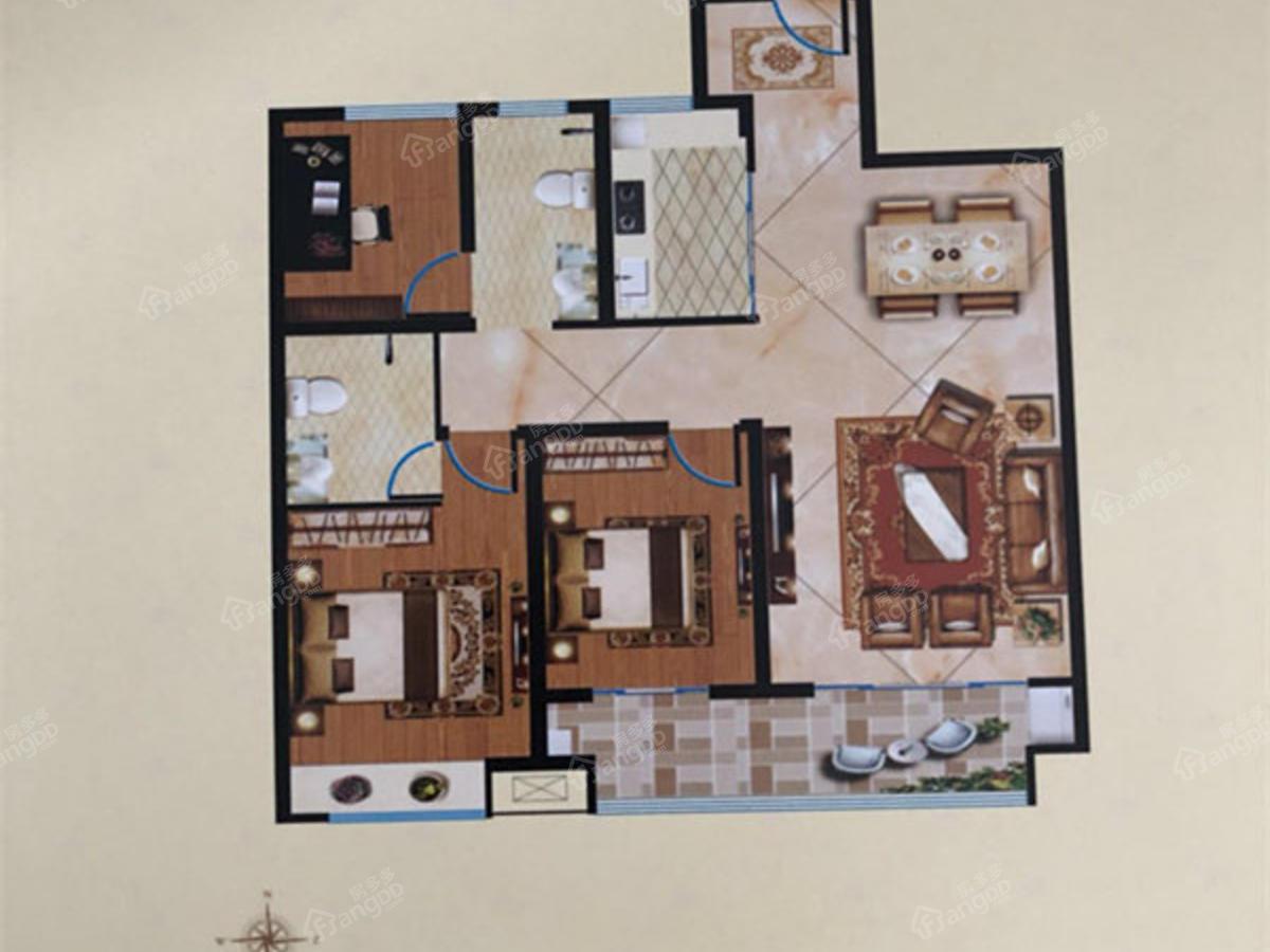阳光湾畔3室2厅2卫户型图