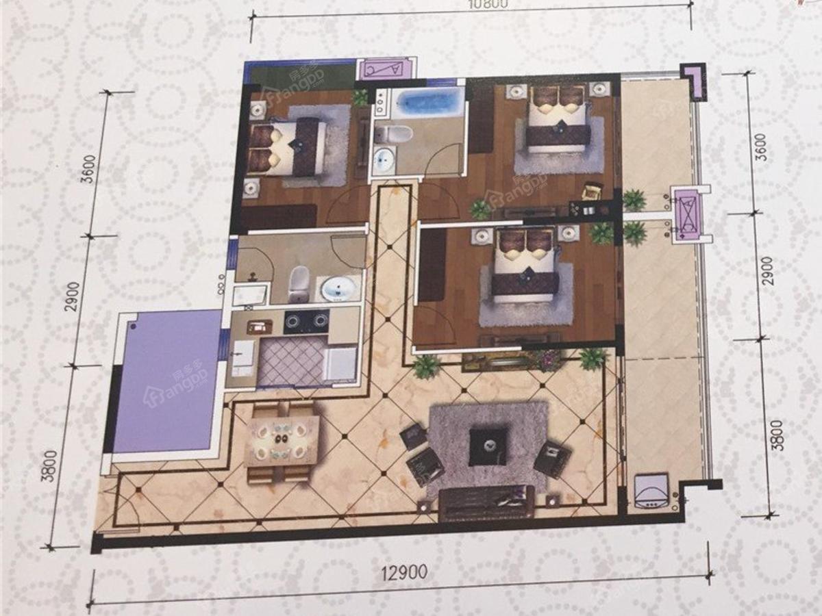 吴川海景苑3室2厅2卫户型图