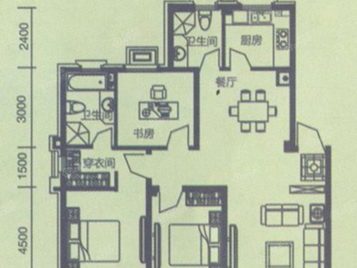 中冶玉峦湾3室2厅2卫户型图