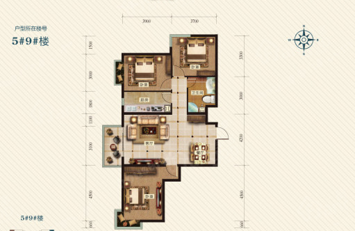 冀东花园3室2厅1卫户型图