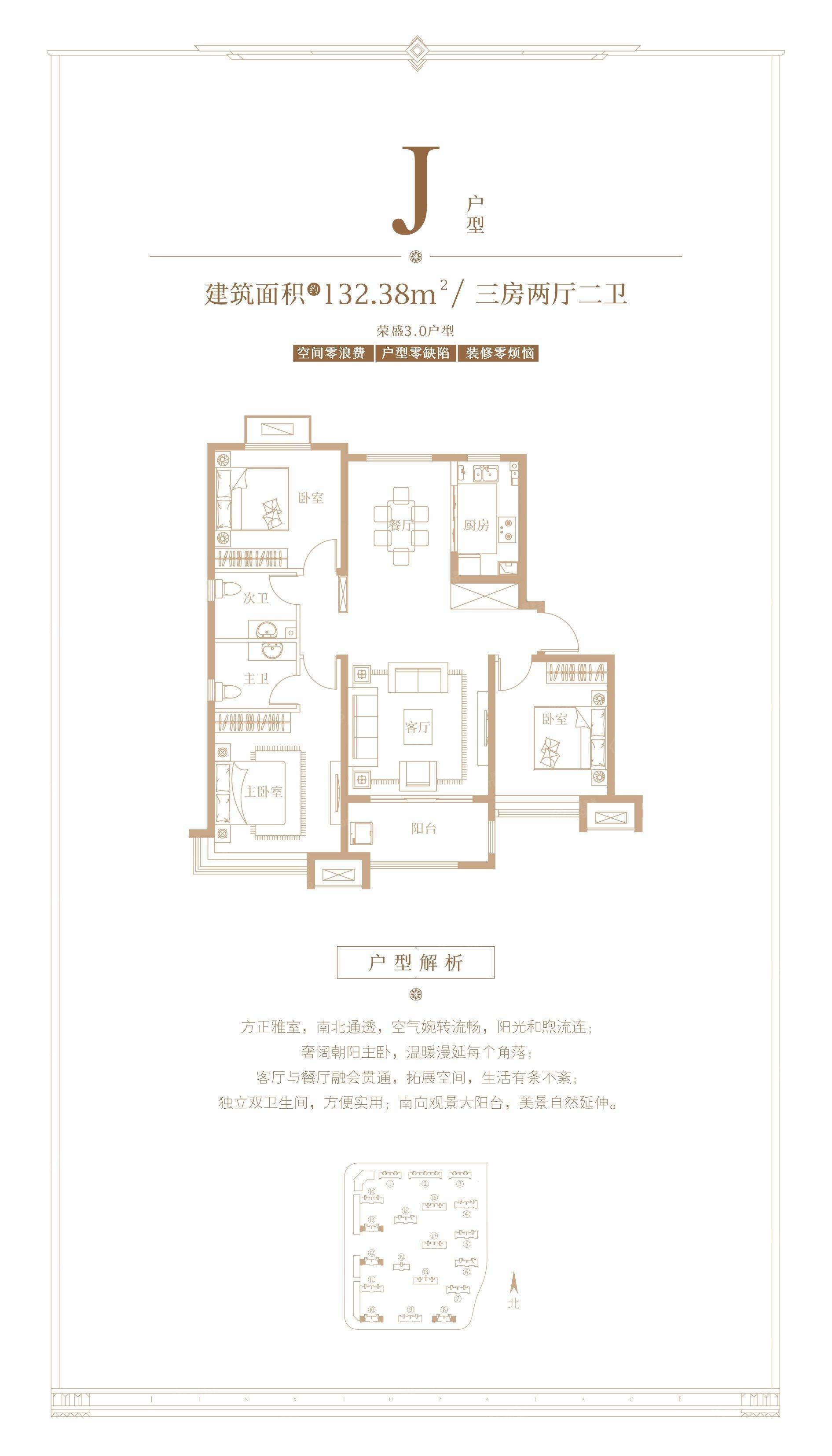 荣盛锦绣观邸3室2厅2卫户型图