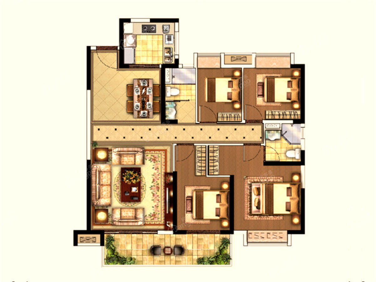 中南江滨悦4室2厅2卫户型图