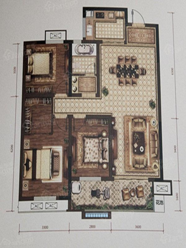 拓基鼎元里3室2厅1卫户型图