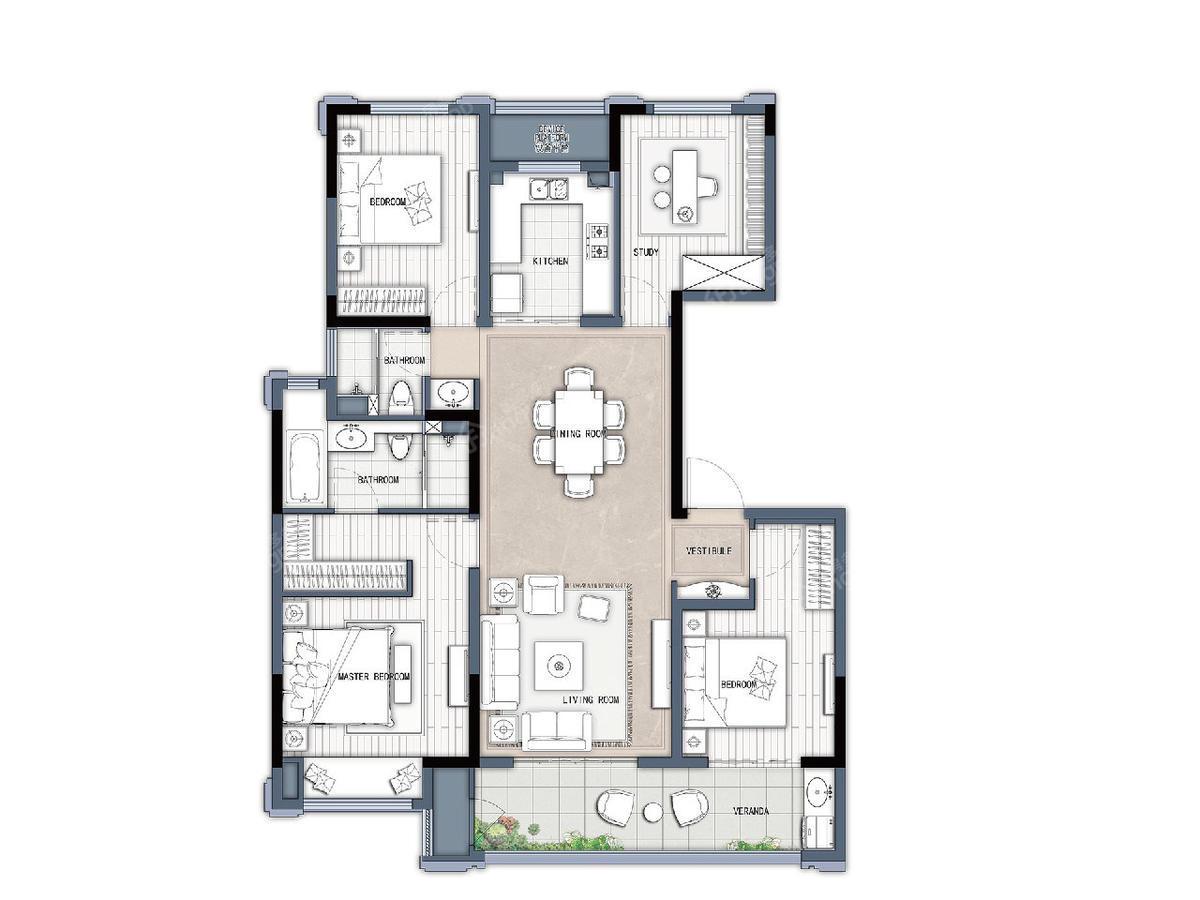 新城牡丹公园世纪/绿都万和城4室2厅2卫户型图