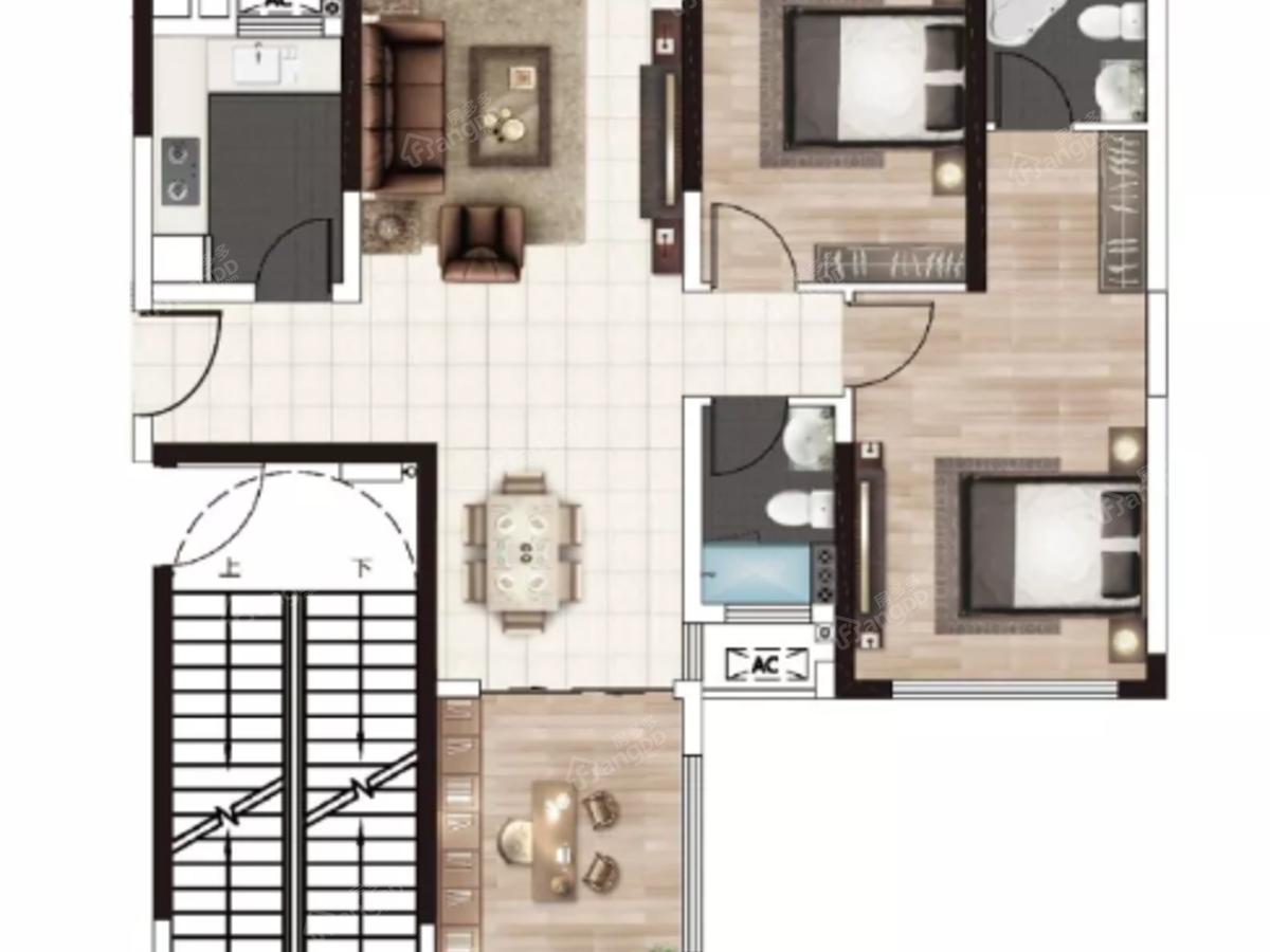 新宇·金康苑3室2厅2卫户型图