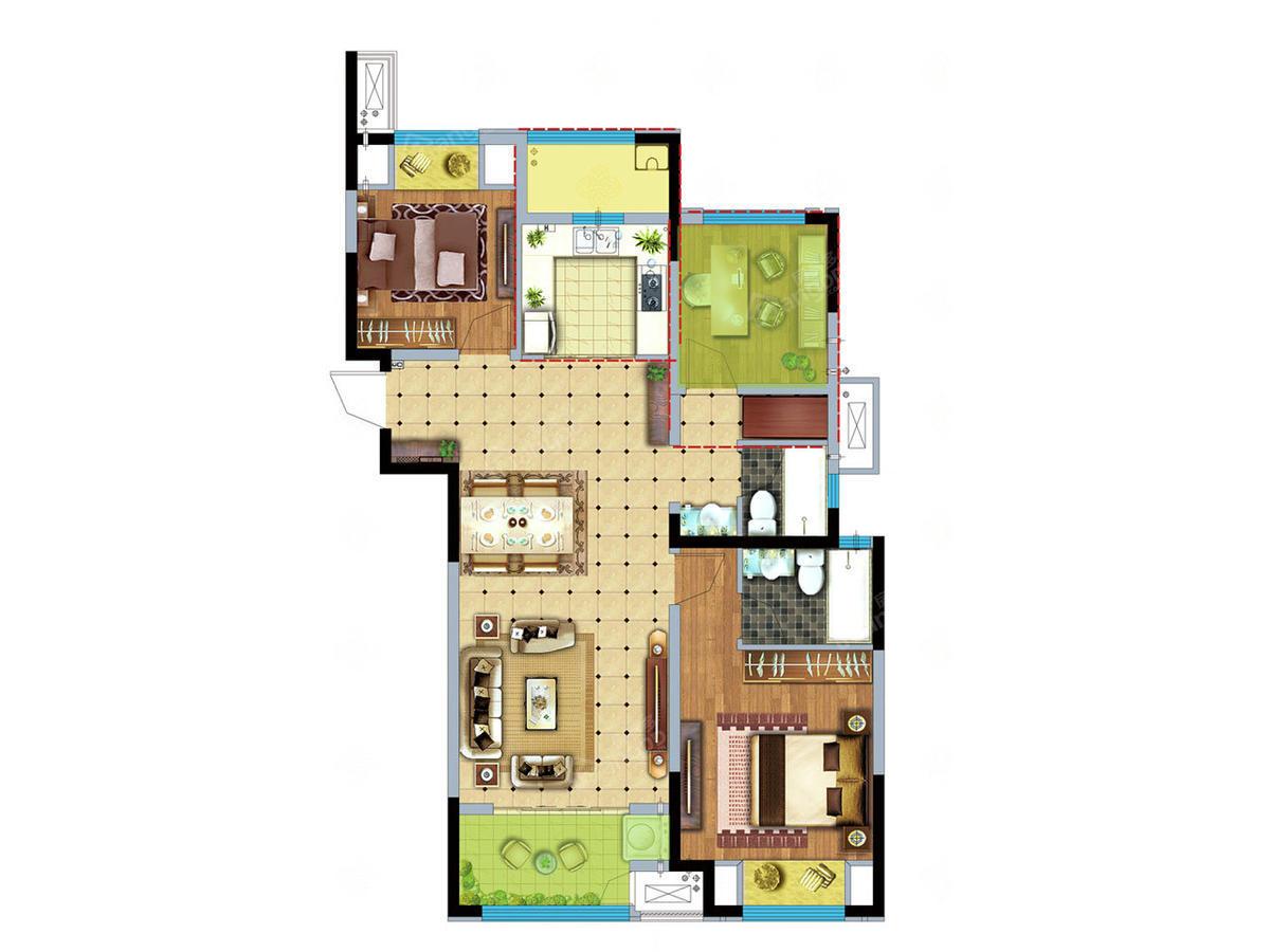 新城牡丹公园世纪/绿都万和城3室2厅2卫户型图