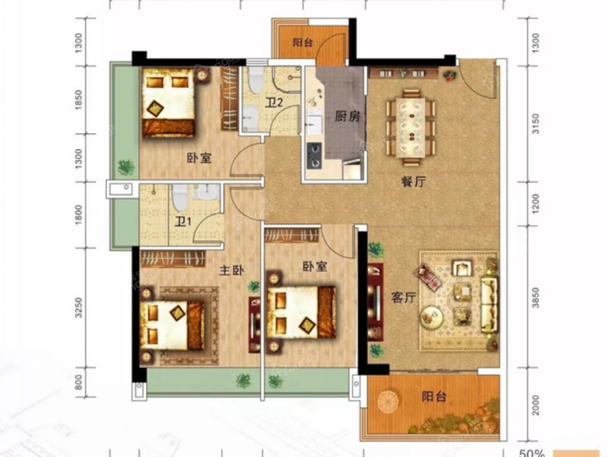 名雅居学府里3室2厅2卫户型图