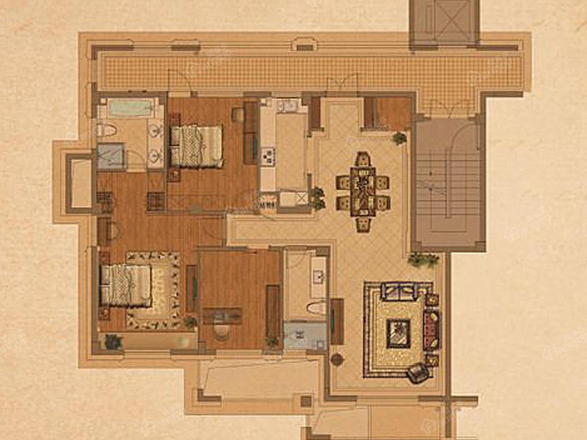 钱江西溪和景3室2厅2卫户型图