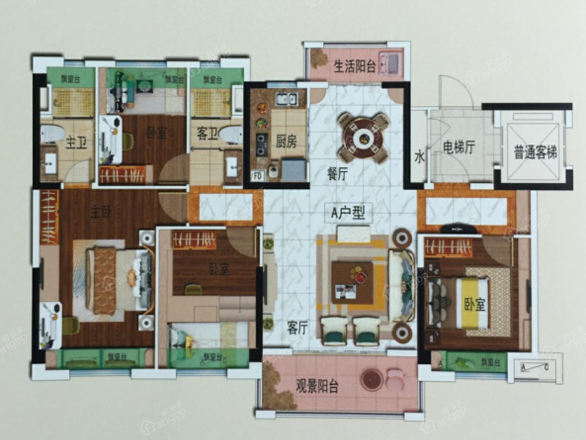 碧桂园天樾4室2厅2卫户型图