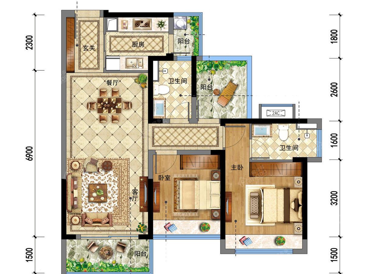 龙光玖龙府2室2厅2卫户型图
