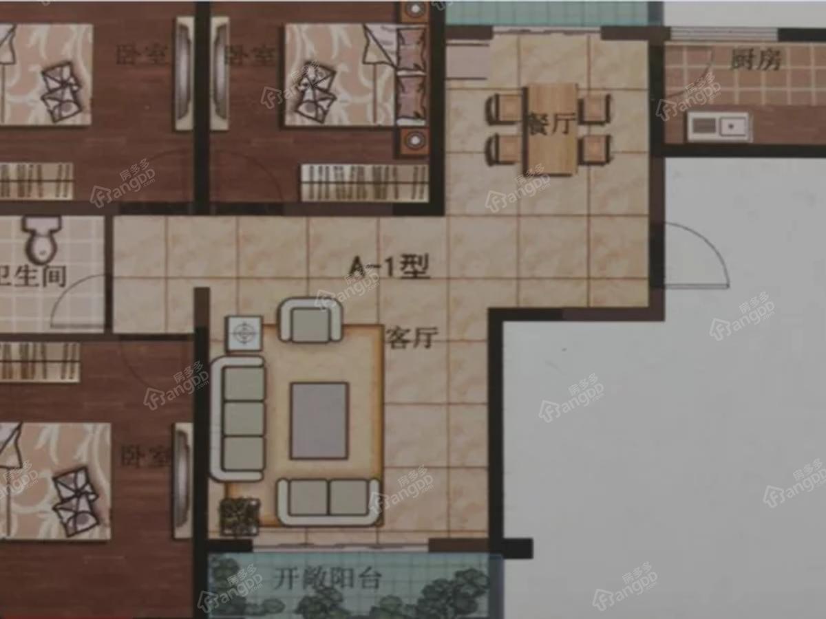 龙湾半岛3室2厅1卫户型图