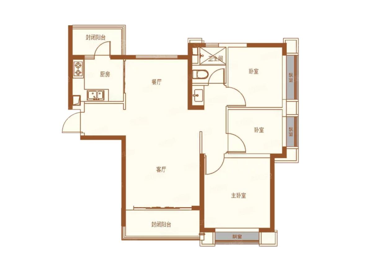 恒大未来城3室2厅1卫户型图