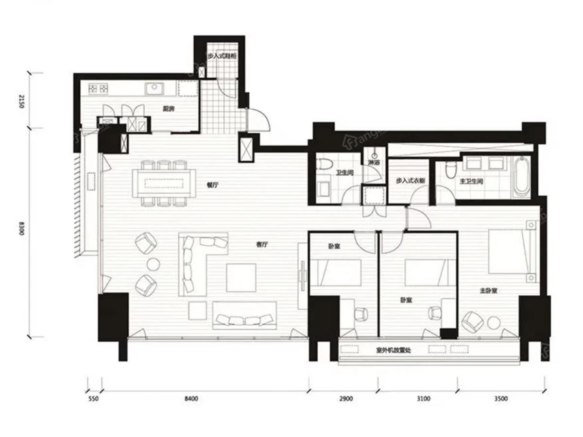 积水裕沁府3室2厅2卫户型图