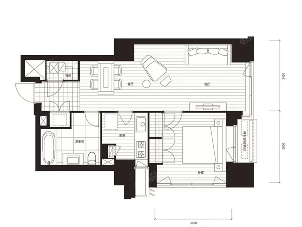 积水裕沁府1室2厅1卫户型图