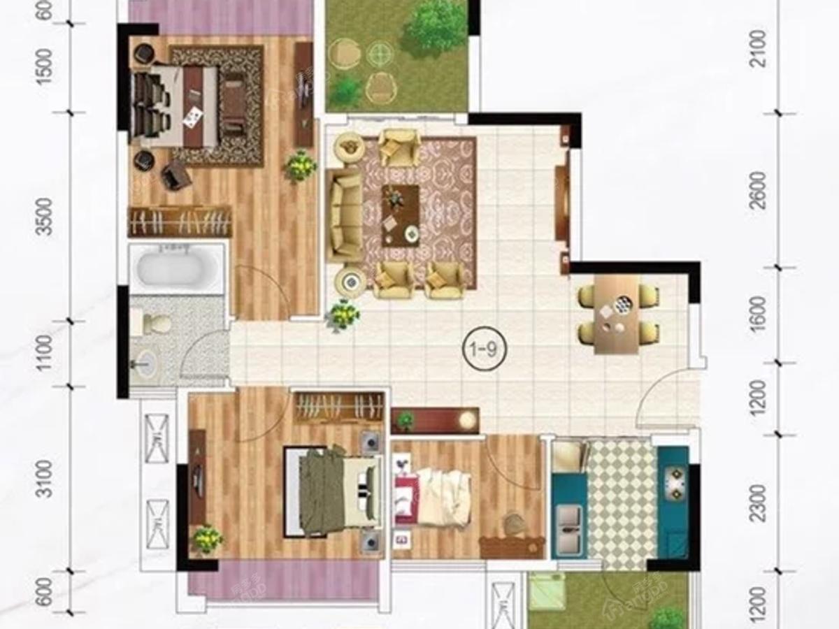瑞航华庭 3室2厅1卫