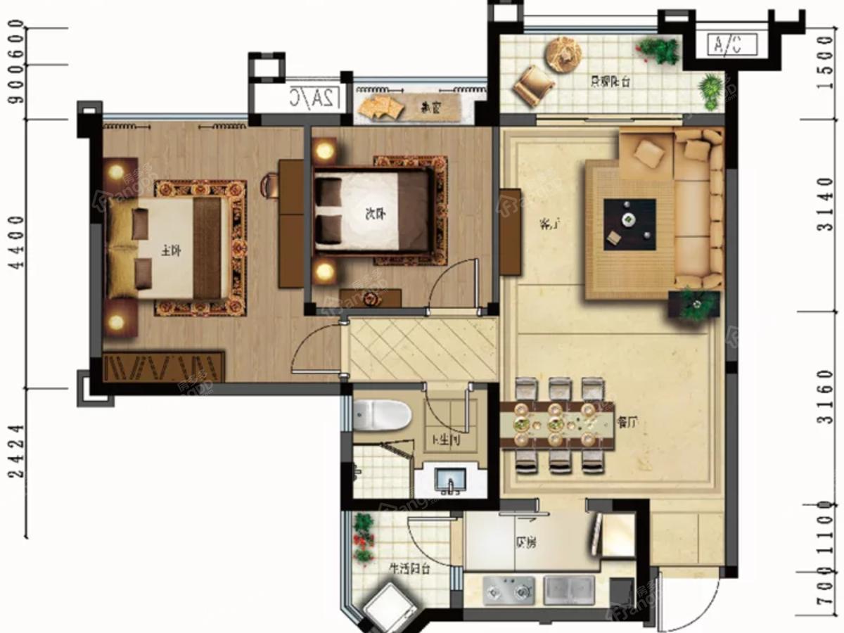 航民·天府锦园2室2厅1卫户型图