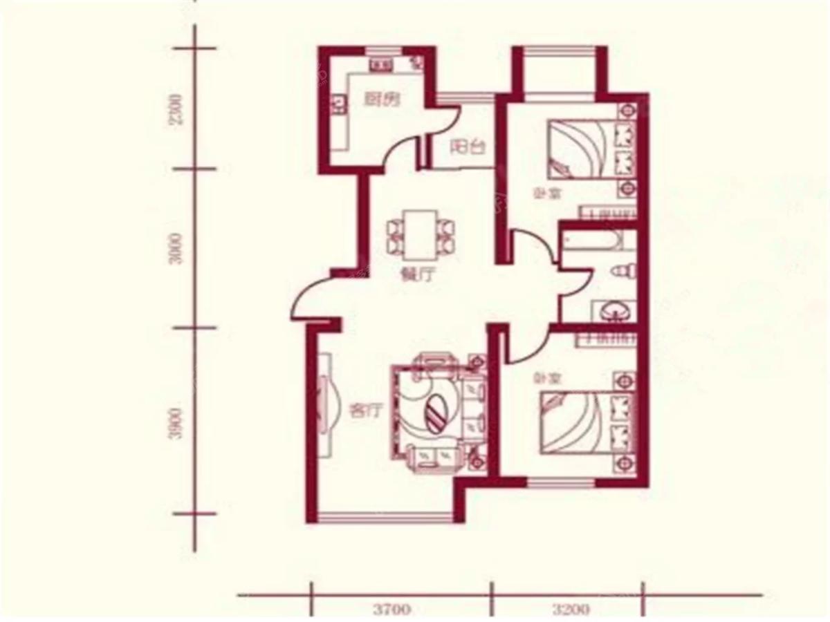 保利四方2室2厅1卫户型图