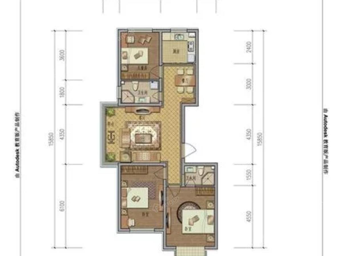 上东国际3室2厅2卫户型图