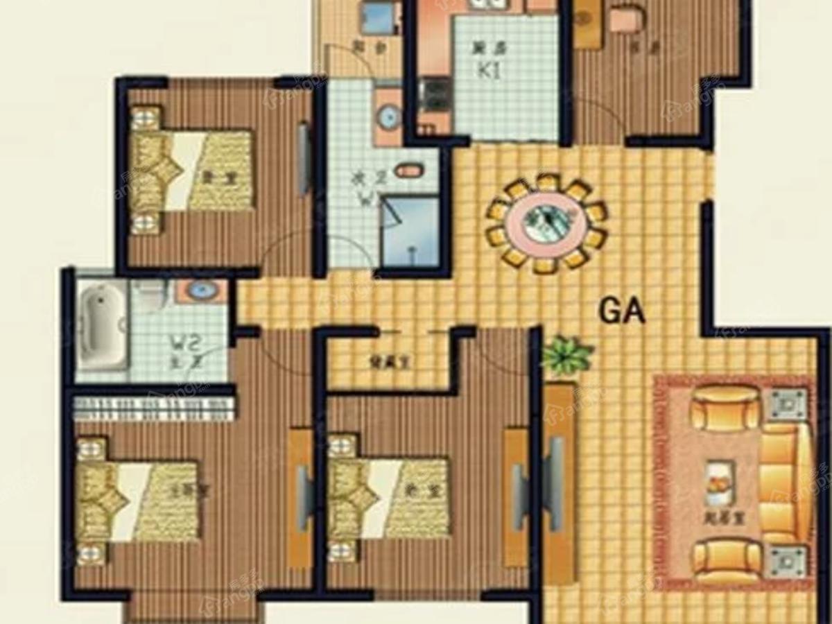 芒市盛世佳园4室2厅2卫户型图