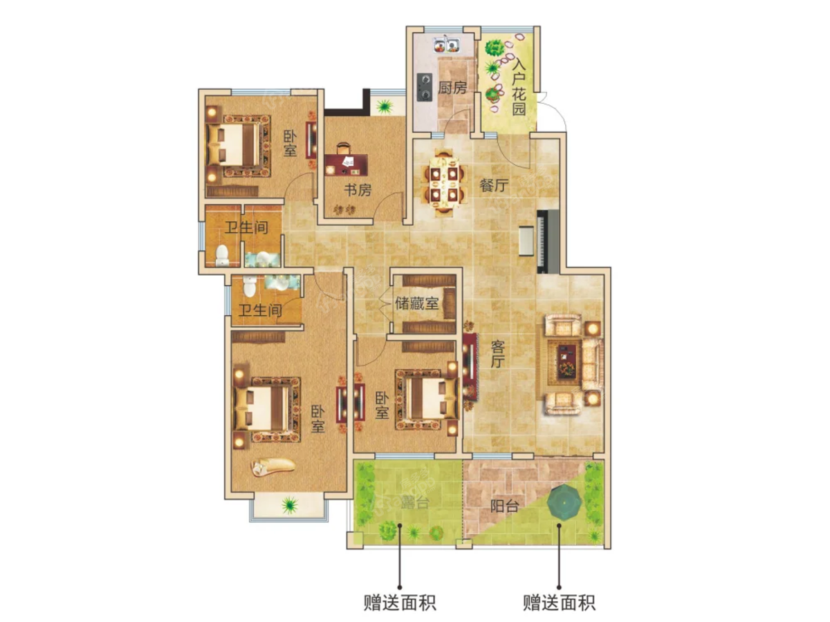 众意星河湾4室2厅2卫户型图