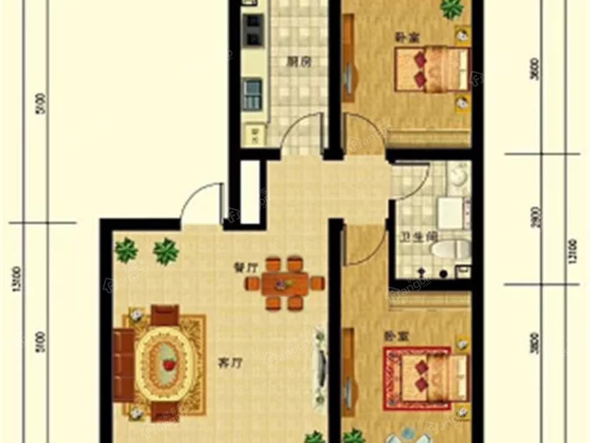 香逸四季2室2厅1卫户型图