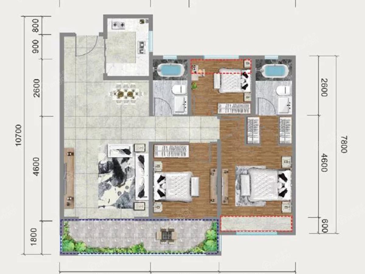 中梁国宾府3室2厅2卫户型图