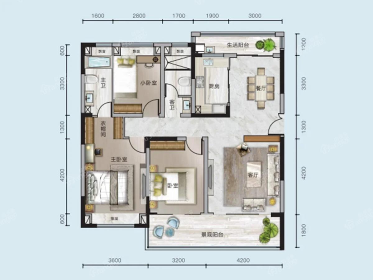 中核顺安府3室2厅2卫户型图