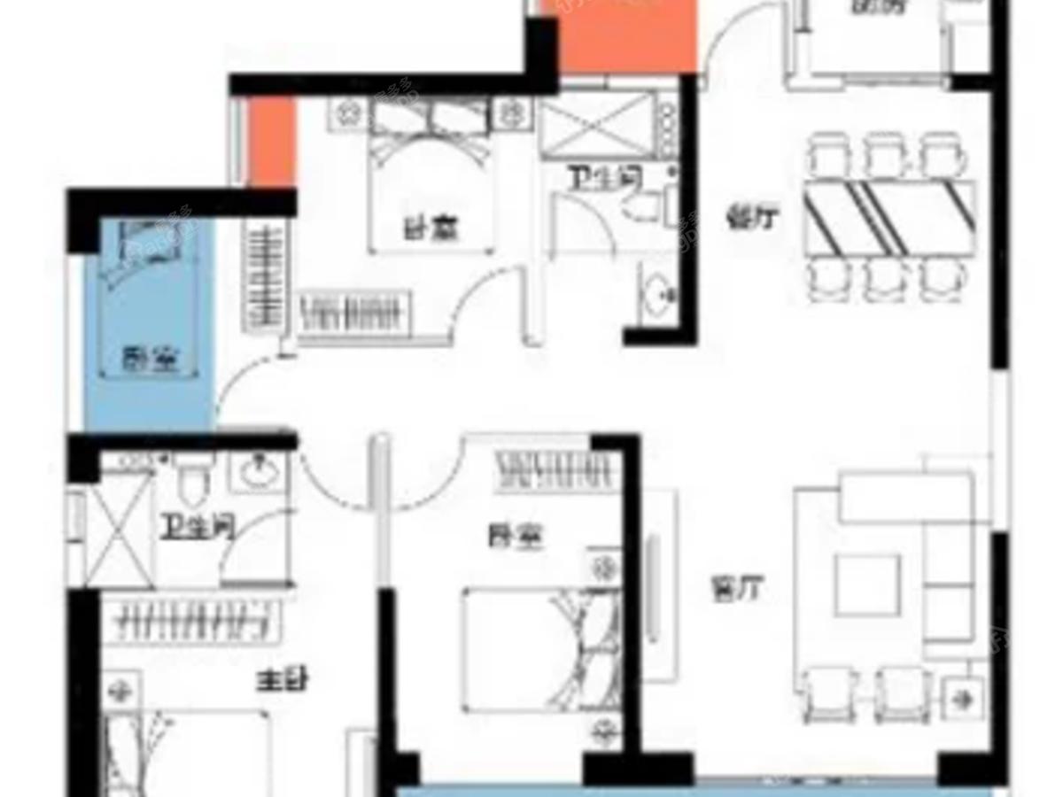 瀚林澜山3室2厅2卫户型图