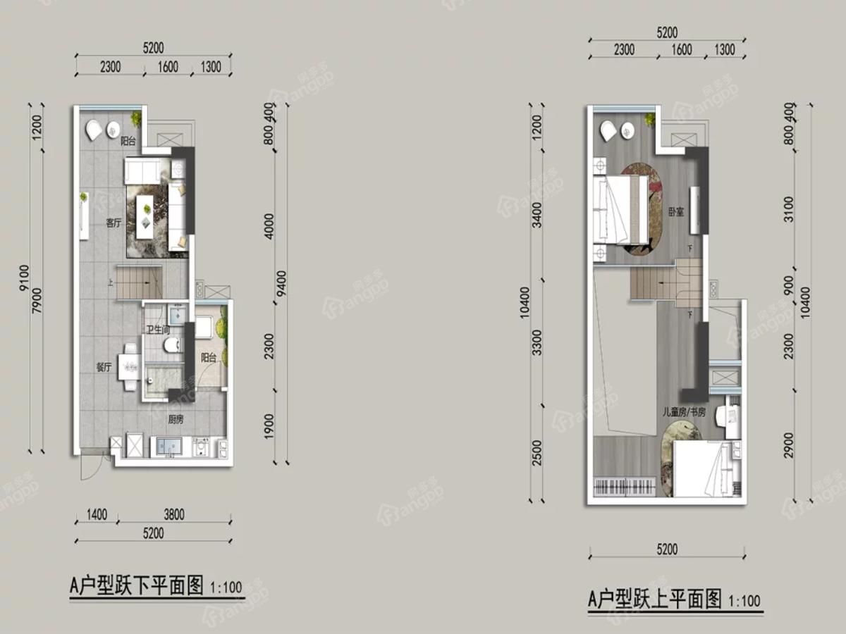 鼎仁悦湖居2室1厅1卫户型图