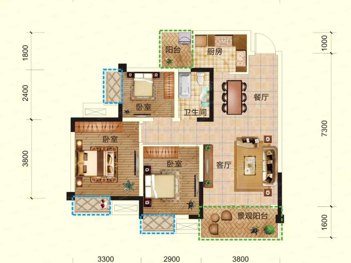 兴发·铂金华府3室2厅1卫户型图