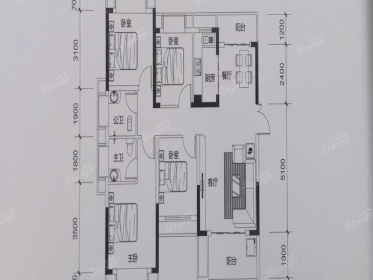 中航元·公园1号4室2厅2卫户型图