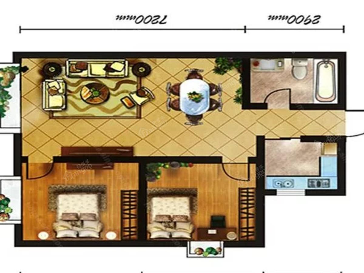 香悦湾2室2厅1卫户型图