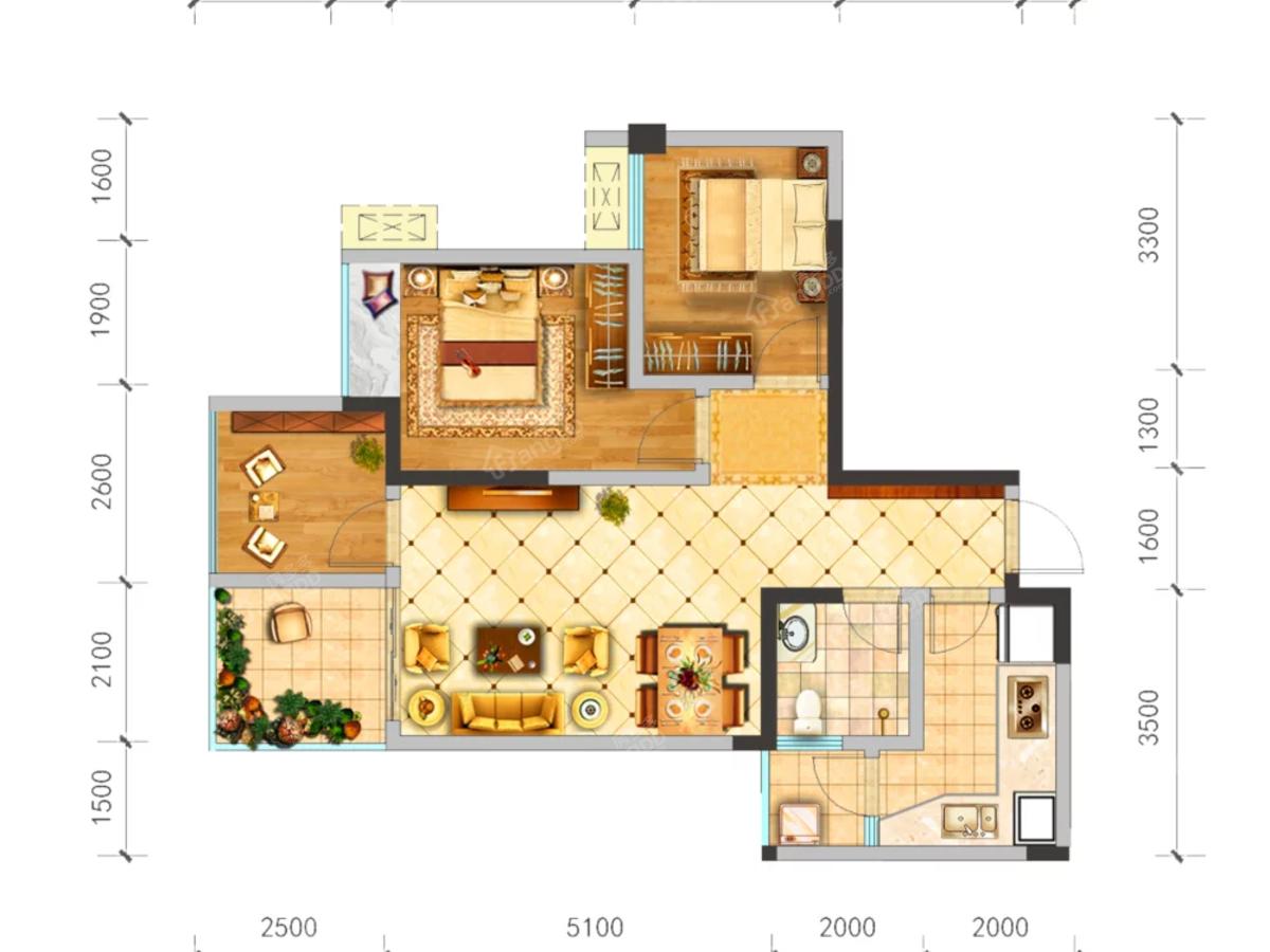 中央华府3室2厅1卫户型图