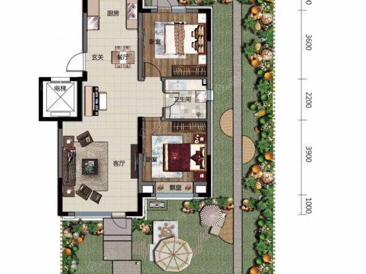 电建地产·海赋外滩2室2厅1卫户型图
