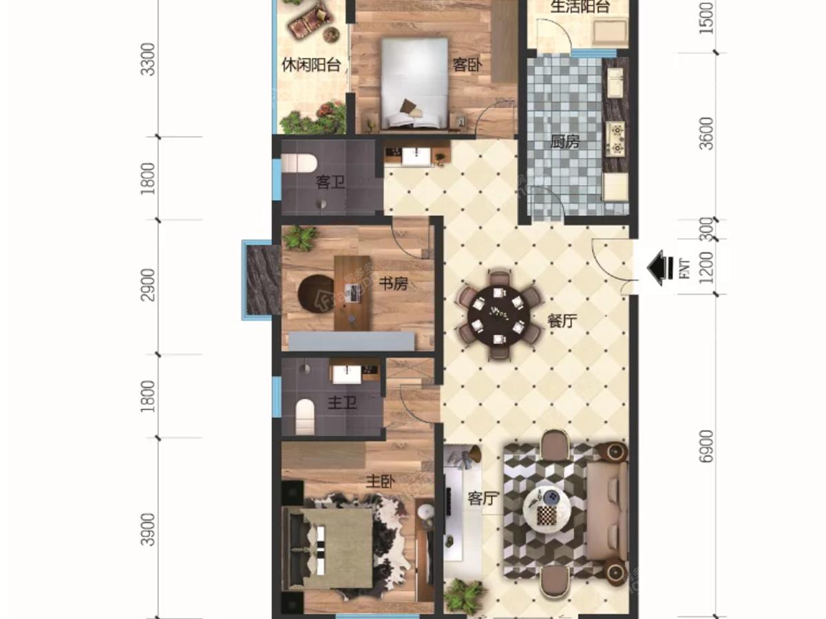 洪博财富中心3室2厅2卫户型图