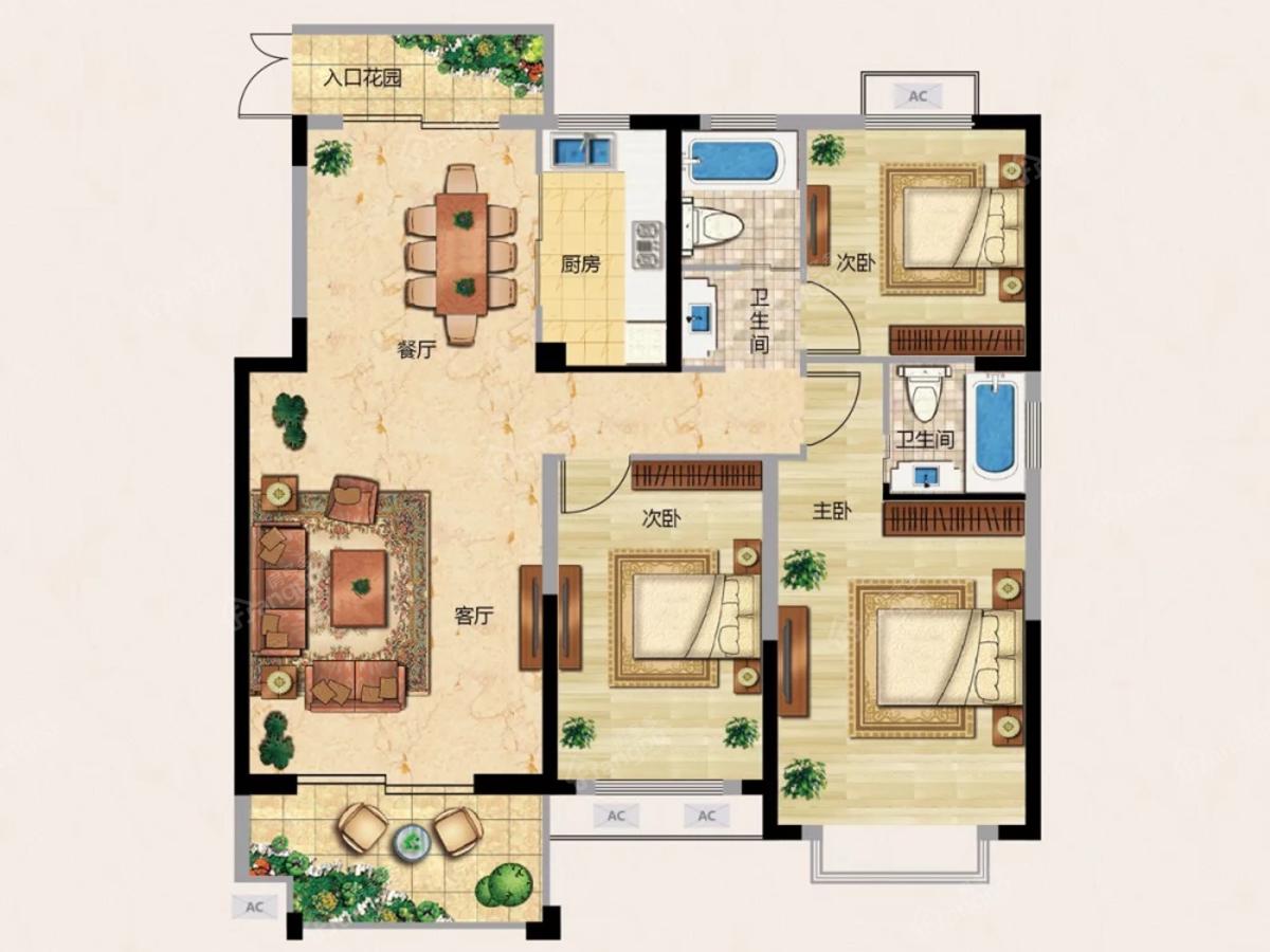 龙城天悦3室2厅2卫户型图