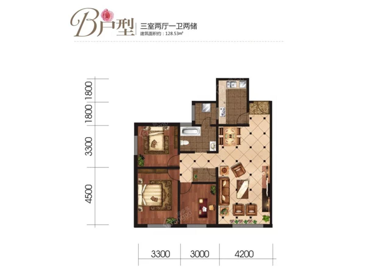 中盛·枫丹白露3室2厅1卫户型图