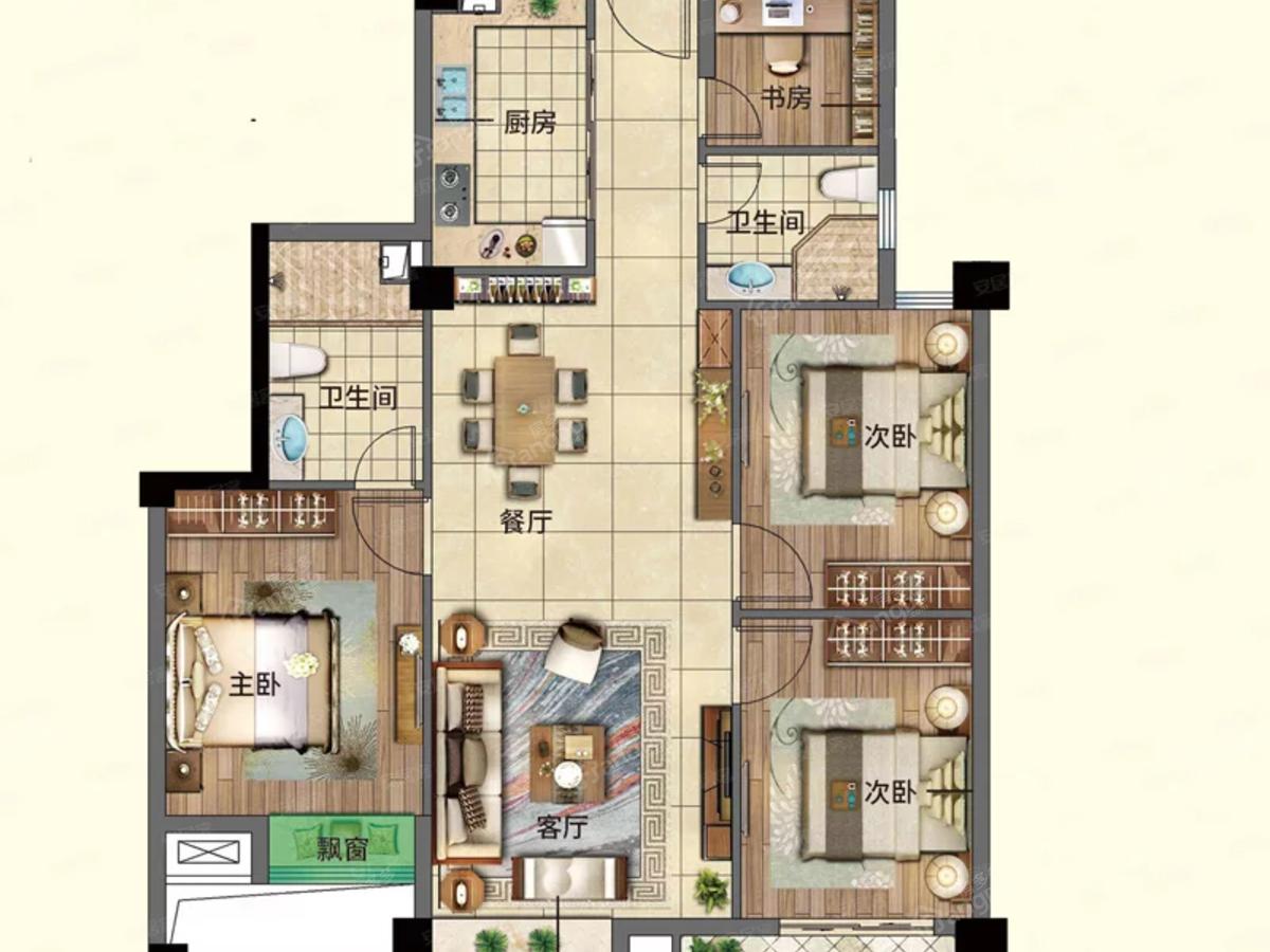 友和佳苑4室2厅2卫户型图