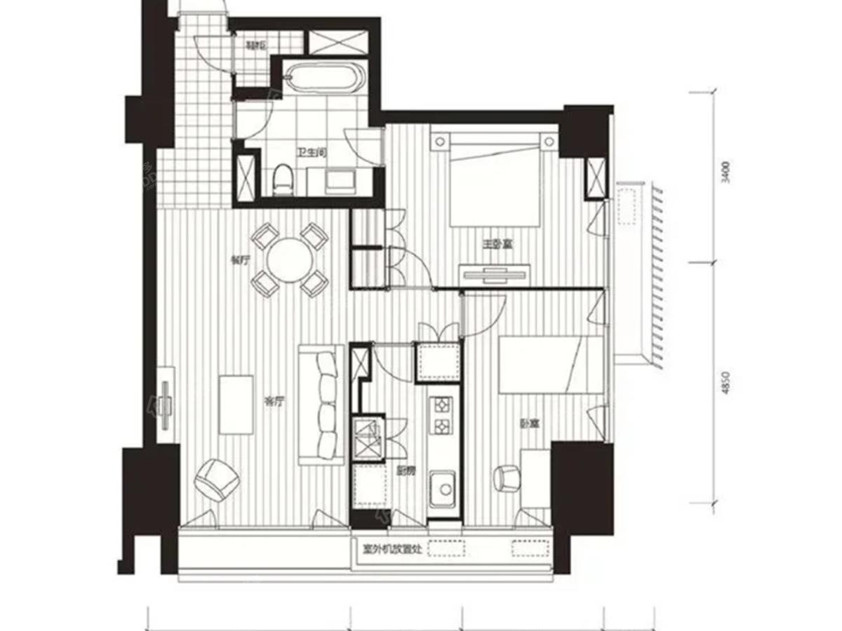 积水裕沁府2室2厅1卫户型图