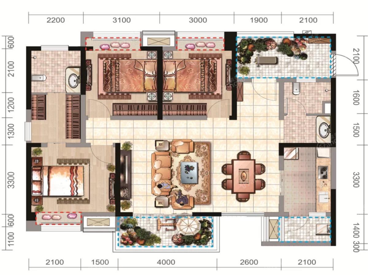 太谷广场3室2厅2卫户型图