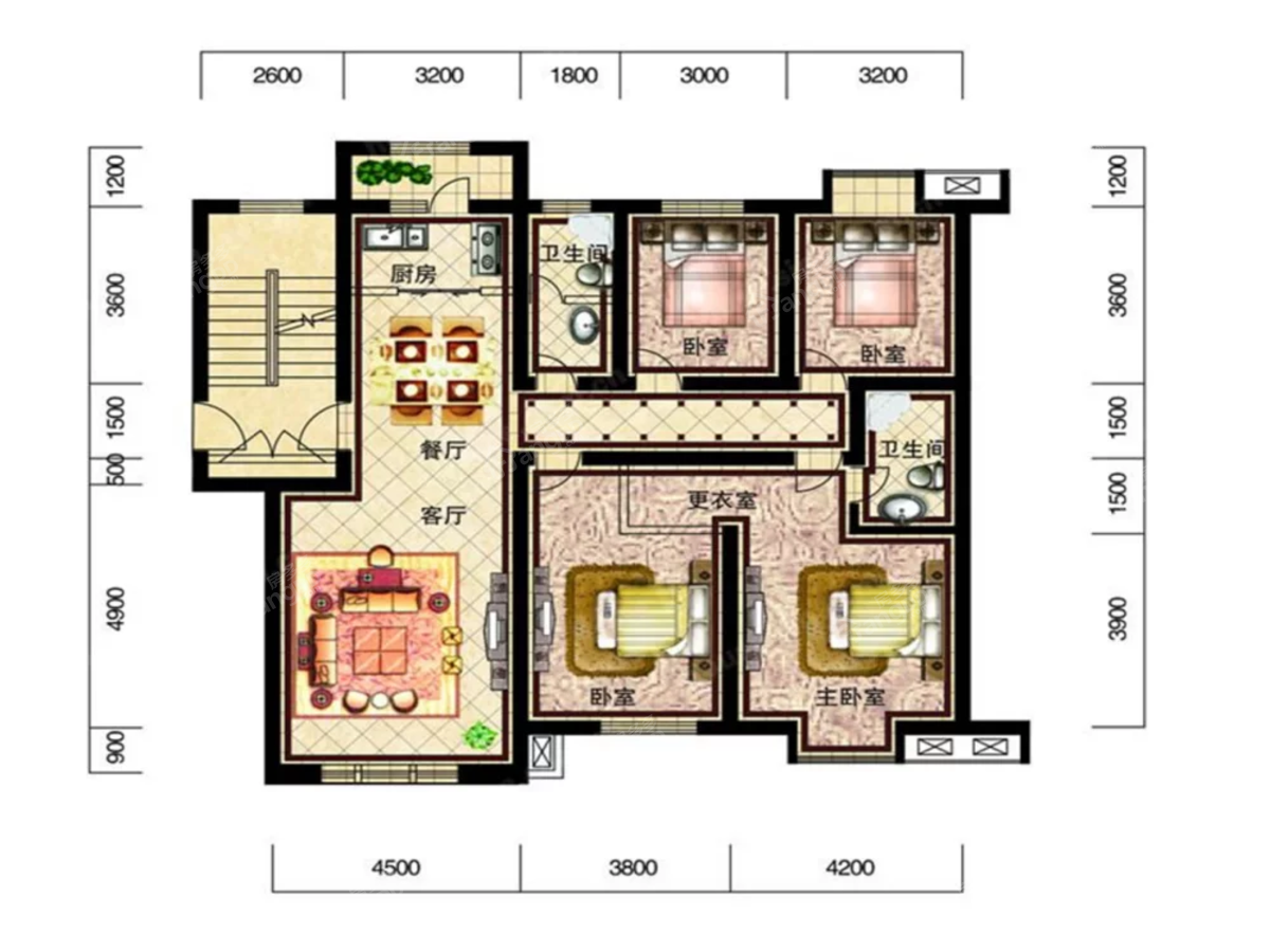 恒威滨江国际4室2厅2卫户型图