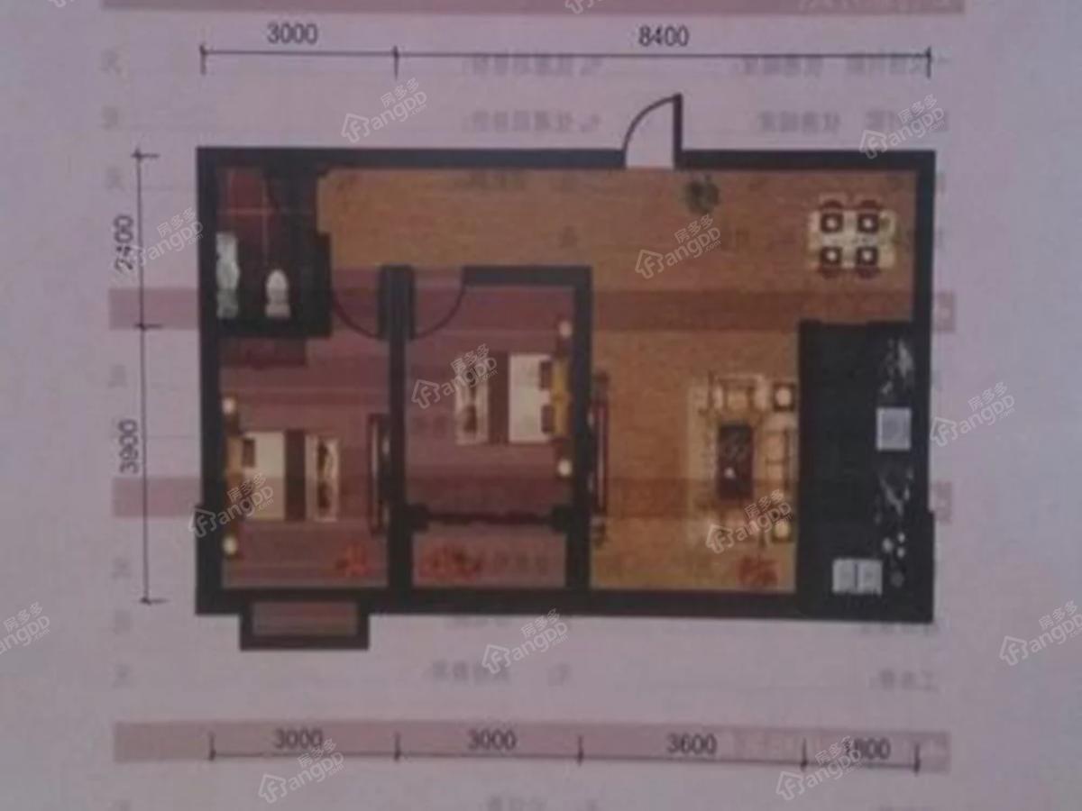 宇臻名都2室2厅1卫户型图