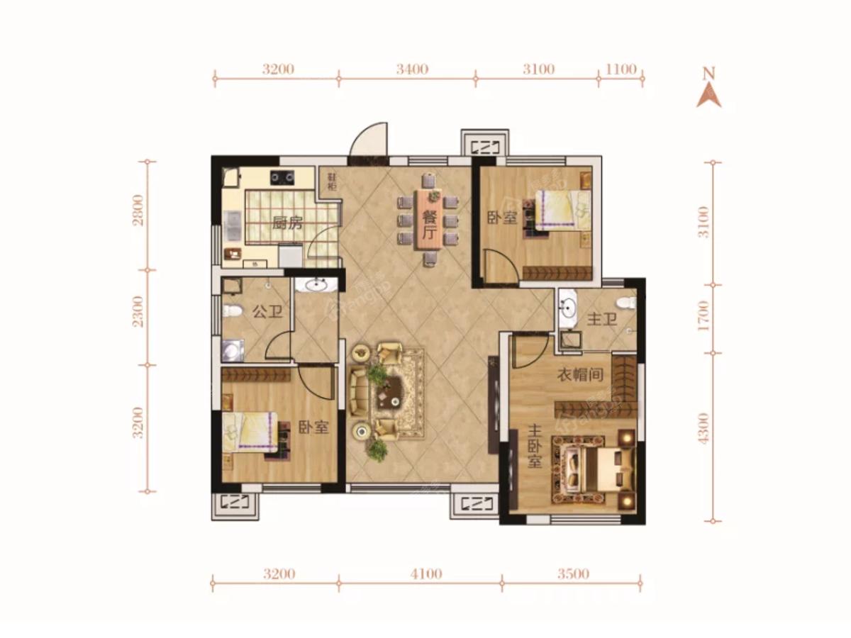 五江夏威夷3室2厅2卫户型图