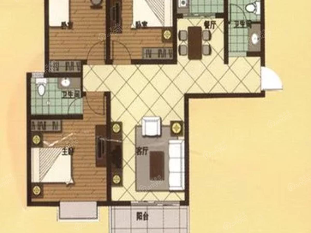 通许美林湖畔3室2厅2卫户型图