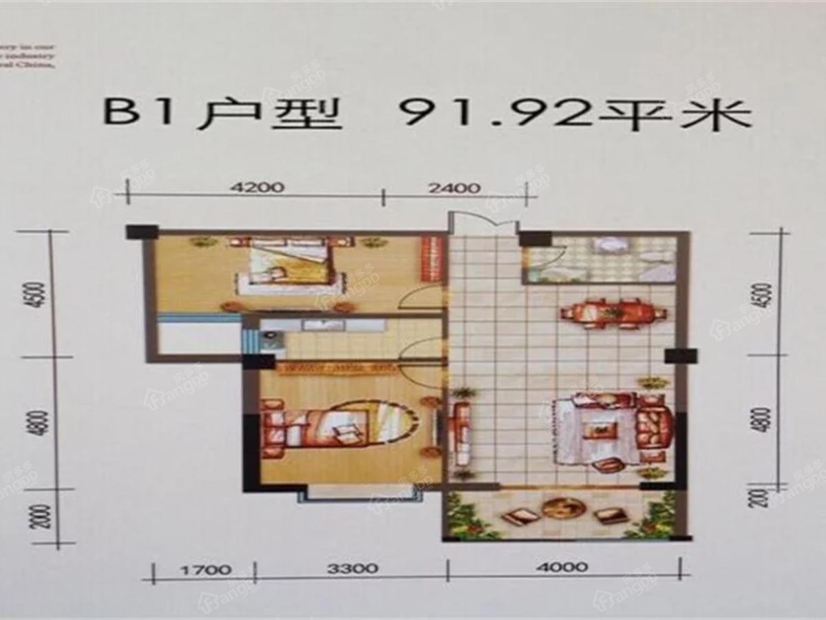 世贸花园四期2室1厅1卫户型图