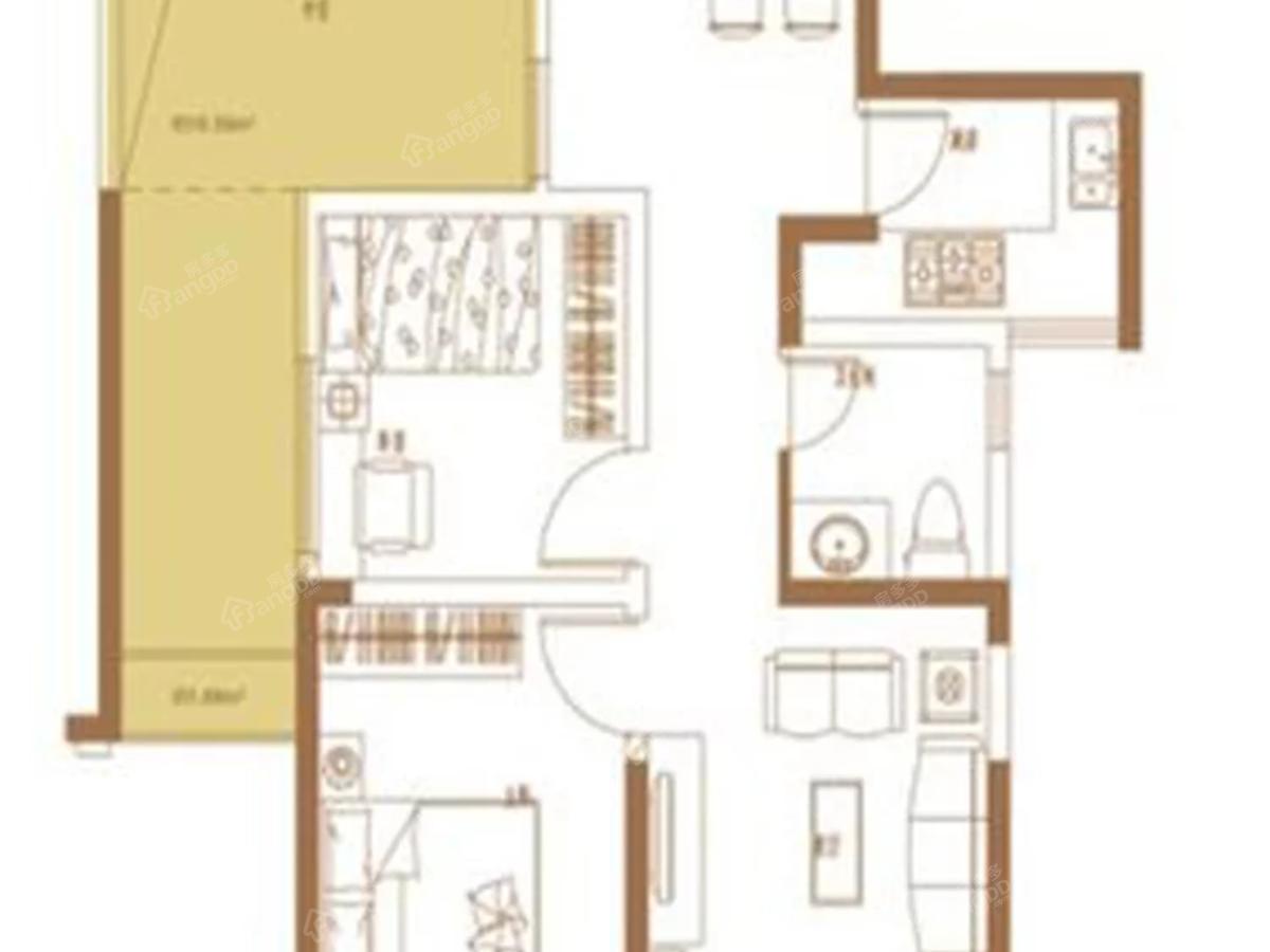 汇仁阳光花园2室2厅1卫户型图