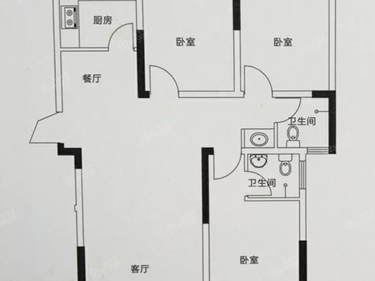 大地时光里3室2厅2卫户型图