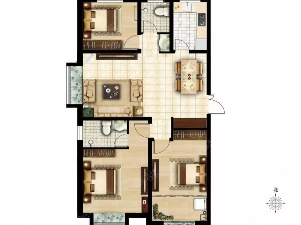 金柱·水城悦府3室2厅1卫户型图