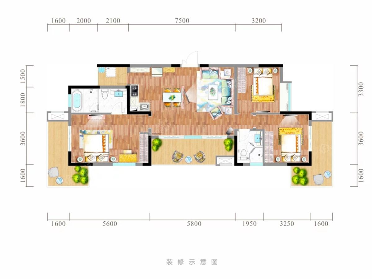 黑龙滩长岛国际旅游度假区3室2厅2卫户型图