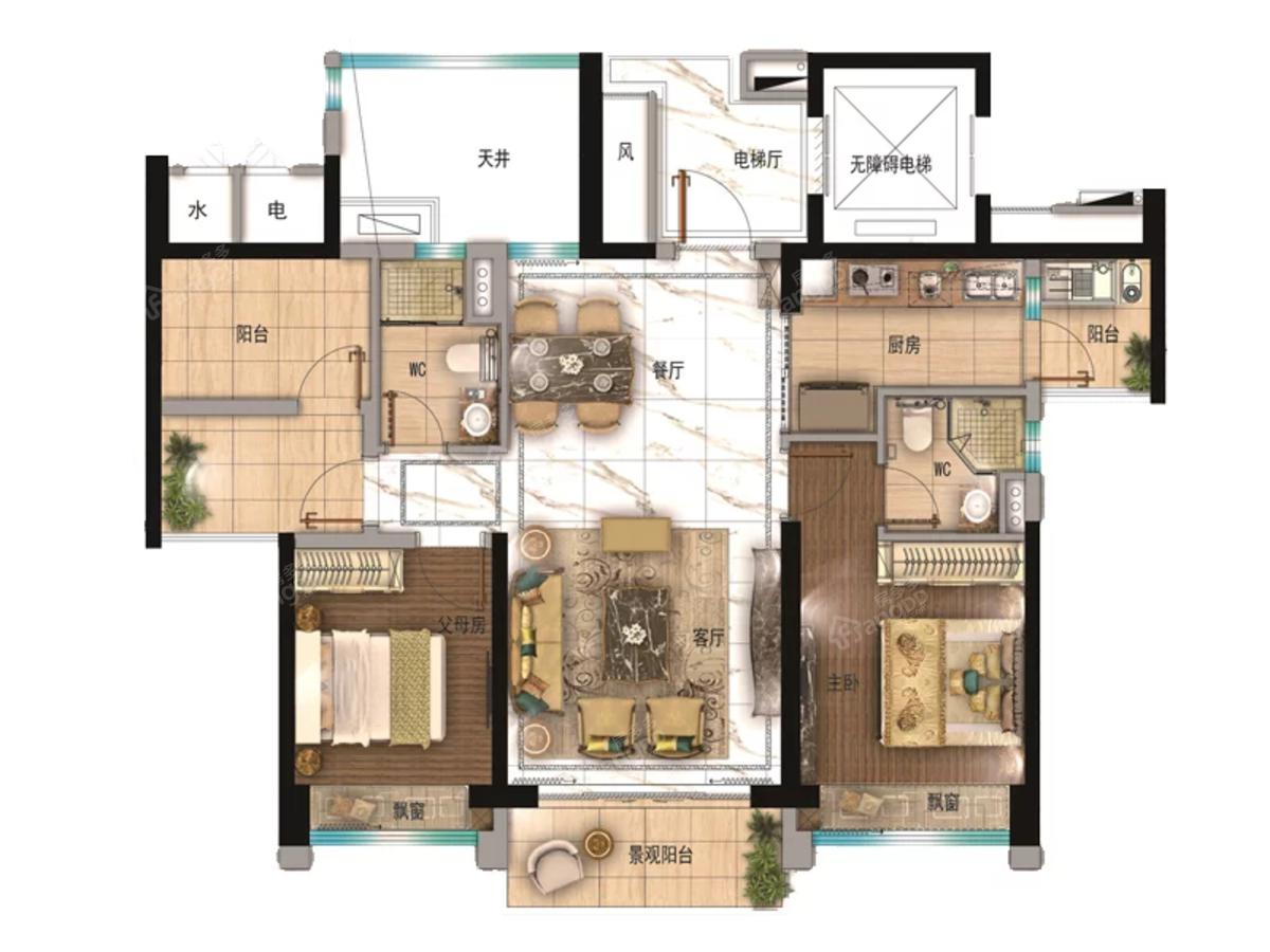 碧桂园·华发滨海天际3室2厅2卫户型图